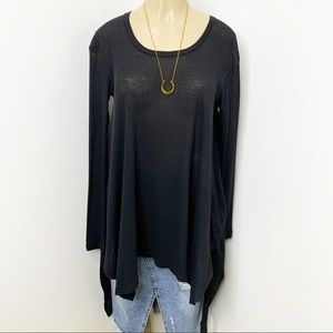 FREE PEOPLE Black Waffle Knit Thermal Tunic Top XS